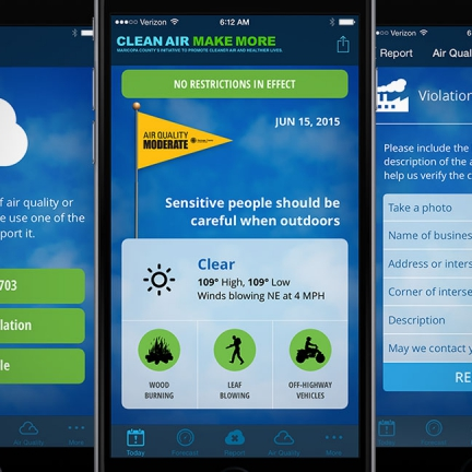 Maricopa County Air Quality Department: Clean Air App and Marketing Campaign